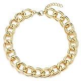 COOLSTEELANDBEYOND Gold Statement Halskette Anhänger, Strukturierte Kreise Gliederkette Große...