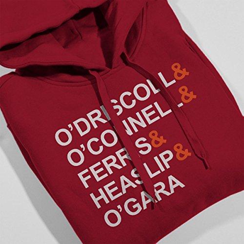 O'Driscoll O'Connell Ferris Heaslip O'gara England Team Men's Hooded Sweatshirt Cherry Red