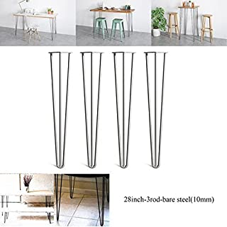 2018 New Design 28inch(71cm) Hairpin Table Legs DIY Furniture Metal Table Legs 3 Rod, Bare Steel, Standard Table Height - Can Support Huge Loads - 4Pcs