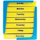 PuTwo pastillero 7 días dispensador de píldoras de organizador de pastillas semanal con 4 compartimientos - amarillo