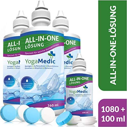 SPARPAKET YogaMedic® Kontaktlinsen Fluessigkeit für weiche Linsen, aus Deutschland - 4 Flaschen, 3 Behälter - Kombilösung mit Panthenol für ein komfortables Tragegefühl