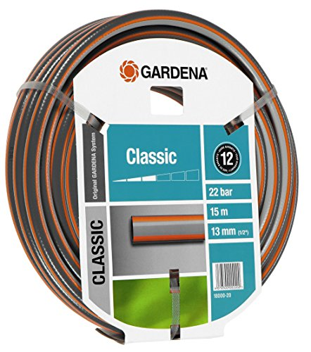 Gardena 18000 Gartenschlauch Classic 1/2 Zoll, 15 m, Grau, 35,6 x 35,6 x 10,2 cm, Sortiert