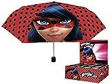PERLETTI perletti7526250x 8cm niña Mini 3Secciones Miraculous-Lady Bug Impreso Paraguas a Prueba de Viento con Pantalla Caja