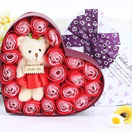 STARKWALL Neue 20stück Rose Seife Blumen Bär Seil Geschenkbox Hochzeitsgeschenke Für Gäste Geburtstag Gift Souvenir Wie die Bilder -