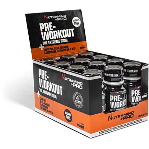 51Gl7ntXRWL. SS500  - Nutramino +PRO Pre-Workout Shot, Orange, Pack of 12, 60 ml/0.720 Kg