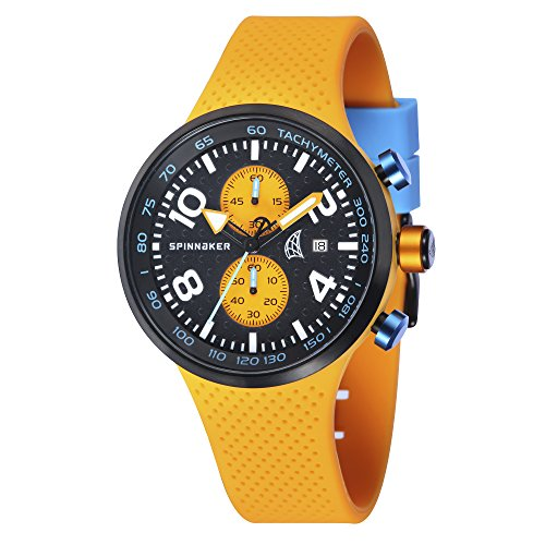 Spinnaker - SP-5029-01 - Dynamic - Montre Homme - Quartz Chronographe - Cadran Noir - Bracelet Silicone Orange