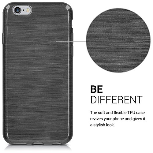 kwmobile Étui en TPU silicone élégant pour Apple iPhone 6 Plus / 6S Plus en bleu foncé mat aluminium brossé anthracite transparent