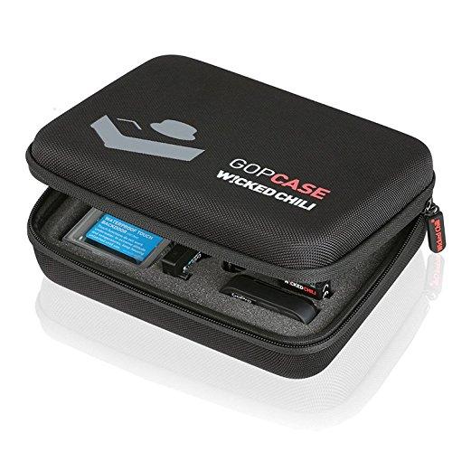 Wicked Chili GOP Case (geeignet für GoPro Hero 6/5/4/3+/3/2/1, QUMOX SJ4000/SJ5000, Xiaomi Yi 4k 2K, Haltegriff, Utensilienfach mit Reißverschluss, Größe: M) schwarz (3-fach Reißverschluss-tasche)