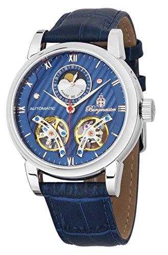 Burgmeister Armbanduhr für Herren mit Analog Anzeige, Automatik-Uhr und Lederarmband - Wasserdichte Herrenuhr mit zeitlosem, schickem Design - klassische Uhr für Männer - BM238-133 Thornton