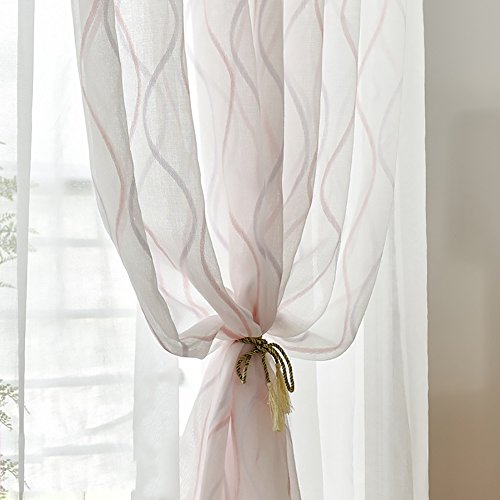 1 Stück Angepasst Rein Farbe Streifen Muster Voile Vorhänge & Vorhänge zum Leben Zimmer das Schlafzimmer Schier Vorhänge Tüll Bucht Fenster 1 Panel Garn Vorhänge Partition (W * H) , pink stripe , 4.5*2.7m(hook top) (Häkeln Top Gaze)