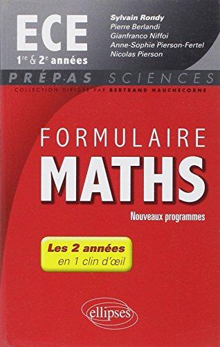 Formulaire Maths ECE 1re et 2e Années En 1 Clin d'Oeil Programme 2014 par Sylvain Rondy