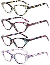 VEVESMUNDO® Lesebrillen Damen Federscharnier Blumen Lesehilfe Katzenauge Vintage Retro Qualität Klassische Vollrandbrille Kunststoff Rahmen 1.0 1.5 2.0 2.5 3.0 3.5 4.0 (Gelb Blumen, 3.5)