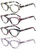 VEVESMUNDO® Lesebrillen Damen Federscharnier Blumen Lesehilfe Katzenauge Vintage Retro Qualität Klassische Vollrandbrille Kunststoff Rahmen 1.0 1.5 2.0 2.5 3.0 3.5 4.0 (4 Stück Lesebrillen, 2.5)