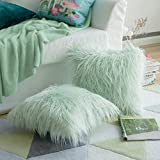 MIULEE 2er Set Soft Solid Dekorative Quadrat Pelz Throw Kissenbezüge Set Kissen Fall für Sofa Schlafzimmer Auto 18x18 Zoll 45x45 cm
