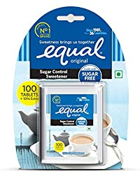 Equal Sugar Control Low Calorie Sweetener (100 Tablets + 10% Extra - Pack of 5)