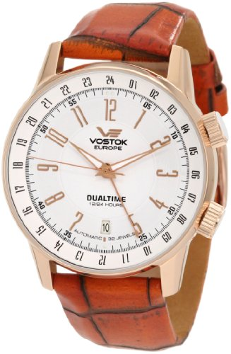 Vostok-Europe Men's 2426/5609060 Gaz-14 Limousine Automatic Mechanical Russian Dual Time Leather Strap Watch