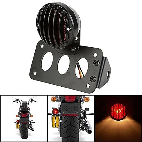 Katur Moto Noir Fixation latérale Queue lumière de frein support de plaque d'immatriculation arrière pour Suzuki Yamaha Harley Bobber