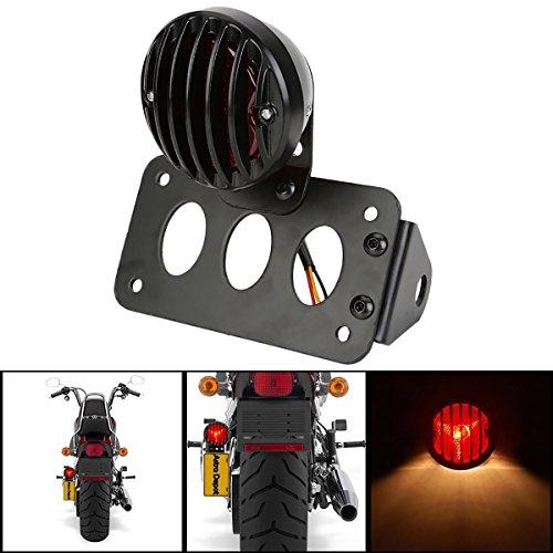 Luz de freno trasera lateral KaTur en negro para motocicleta con soporte...