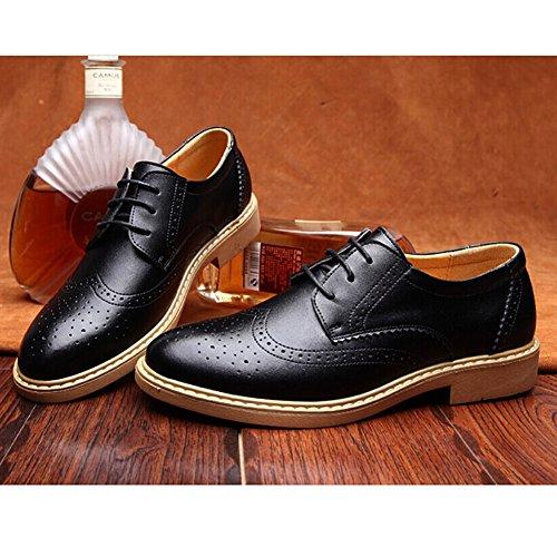 Zicac Style vintage chaussure à lacet en cuir de vache habillées robe Homme Noir