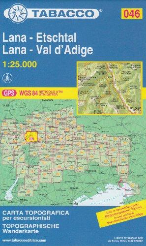 46 Lana - Etschtal, Lana - Val d´Adige, 1:25.000 randonnée topographique, le cyclisme et le ski de randonnée carte (Dolomites, Alpes)