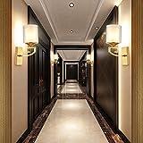 Avanthika E27 Wandlampe Antik Vintage Metall Retro Wandleuchte Die neue chinesische Mauer leuchtet voll Kupfer Korridor Gang Light Wandleuchte Lampe Nachttischlampe Schlafzimmer Wohnzimmer Wand Lampen-LED auf die Gewindebolzen der einzelnen Wandleuchten - Höhe 35 cm Breite 14 cm