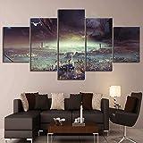 JSBVM 5 Panel Malerei Destiny 2 Spiel Poster Lost Planet Stadtbild HD-Fantasie Kunst Segeltuch Gemälde für Schlafzimmer Wand Dekor
