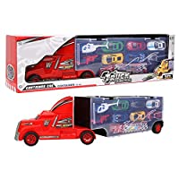 Woyisisi Portable Alloy Truck Carrying Container Toy with 12 Car Models 2 Aircrafts Kids Toy Car