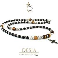 Collana uomo rosario con pietre dure naturali onice nero e occhio di tigre con croce pendente e distanziatori in acciaio…