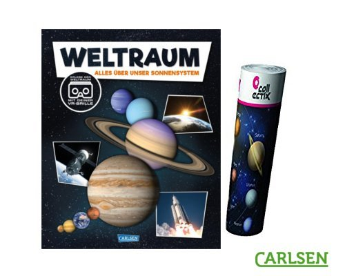 Carlsen Clever: Weltraum (Hardcover): Alles über Unser Sonnensystem. mit Virtual-Reality-Brille + Kinder Planeten Poster by Collectix