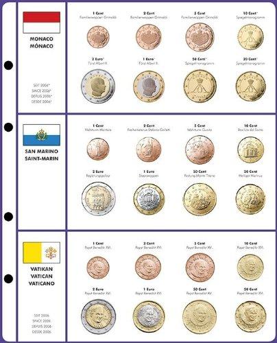 Preisvergleich Produktbild Vordruckblatt EURO COLLECTION: Kursmünzensätze Monaco/San Marino/Vatikan [Lindner 8450-13], Vordruckblatt inkl. Münzblatt