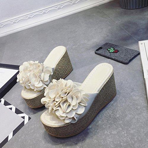DM&Y 2017 fiori femminili sulla pista estiva con tacco alto sandali fondo pesante scarpe meters white
