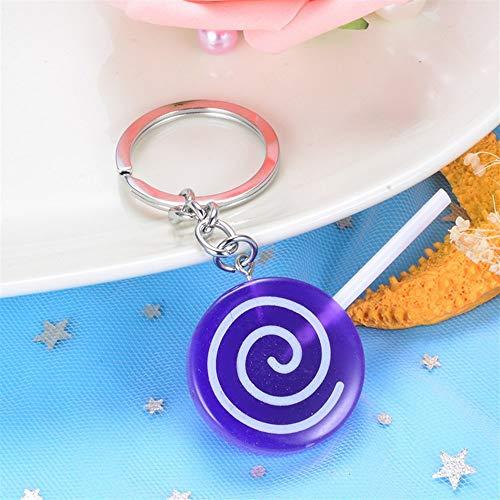 XINSU Dekoration Lollipop Candy Anhänger Harz Schlüsselanhänger Geldbörse Handtasche Auto Charme Schlüsselanhänger Geschenk (Lila) Hübscher Schlüsselanhänger