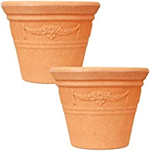 simpa 2 x Garland Terracotta Plastic Planter Indoor & Outdoor Flower/Plant Pot - 30cm Diameter - Ideal for Plants, Flowers, Gardens, Patios, Conservatories or throughout the home.