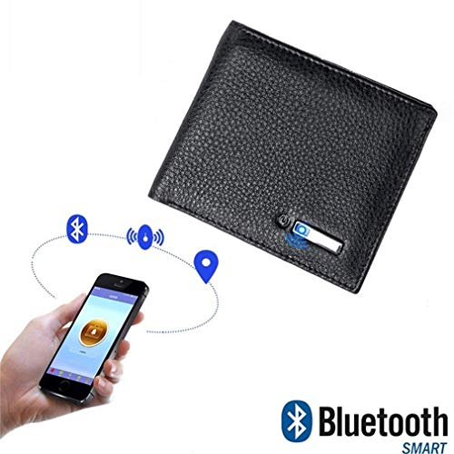 CARGPS Smart Anti-Lost Wallet mit Alarm/Bluetooth/GPS Locator/Positionsaufzeichnung per Telefon GPS für Herrenportemonnaie,Black