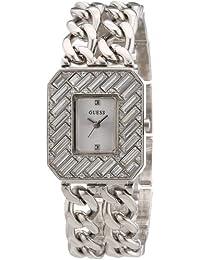 Guess W0126L1 - Reloj analógico de cuarzo para mujer con correa de latón, color plateado