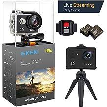 EKEN H9s 4K Cámara de Acción Cámara Deportiva a Prueba de Agua Full HD Wifi con Video 4K30/ 1080p60/ 720p120fps Foto 12MP y Lente de Gran Ángulo 170 grados incluye Kit de 17 Monturas (Negro)