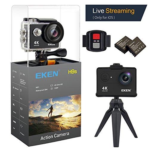 EKEN H9s 4K Actionkamera wasserdichte Full HD Wifi Sportkamera mit 4K / 2.7K / 1080P60 / 720P120fps Video 12MP Foto und 170 Weitwinkelobjektiv beinhaltet 10 Montagesätze fernbedienung 2 Batterien (Schwarz)