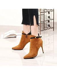 0364cae1da khskx-new punta talón corto botas hebilla de cinturón con cremallera  lateral botas de Martin botas de invierno de…