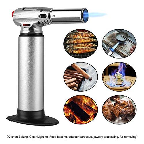 FEMOR Küchenbrenner Flambierbrenner Butangasbrenner mit Sicherheitsschloss und einstellbare Flamme für Küche, Flammentemperatur bis zu 1300°C - Silber (Butan inbegriffen nicht)