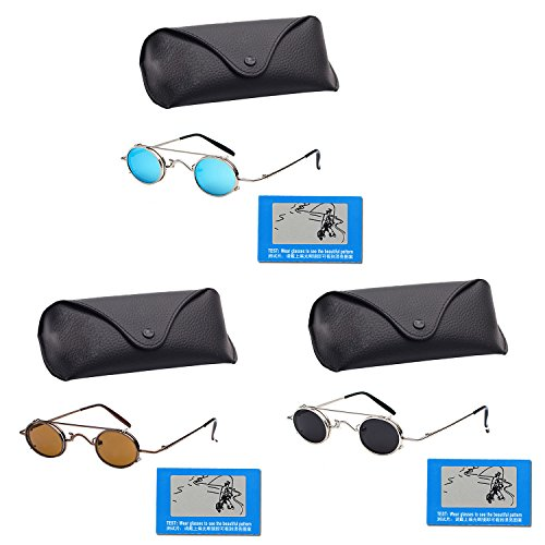 Unisex Fashion Metal Frame Retro Steampunk Round Sunglasses UV Protection with Sunglasses Case Bag Polarized Testing Card for Women Men