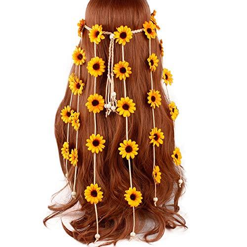 Boyfriend Cardig TININNA Mujeres Hippie Flower Crown Diademas Girasol Hair Crown Crown Bohemia Flower Diadema Borlas Cinturón Accesorios para el Cabello Amarillo