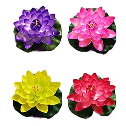 Railonch - set di 4 fiori artificiali di loto per laghetto e laghetto, b2, 18x18cm