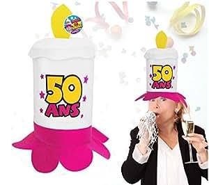 Chapeau bougie 50 ans rose