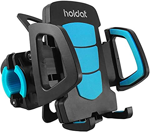 HOLDAT Bike Phone Holder Handlebar Mount - Universal Clamp - Rubber Strap - Phone Holder for Bicycle, Motorbike, Stroller, Treadmill - Compatible with any Handlebar - 360 Degrees Swivel Rotation - One Button Release - Easy to Install and Remove - Compatible with iPhone 6S/ 6s Plus/ 6/ 6 Plus/5 S/ 5C/ SE, Samsung Galaxy S5/ S6/ S6 Edge/ S7/ S8 Edge, Galaxy Note, Nexus, HTC, LG, Huawei, Sony and all other Smartphones