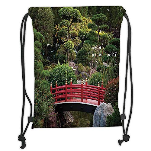 GONIESA Drawstring Sack Backpacks Bags,Apartment Decor,Tiny Bridge Over Pond Japanese Garden Monte Carlo Monaco Along with Trees and Plants Decorative, Soft Satin,5 Liter Capacity,Adjustable St