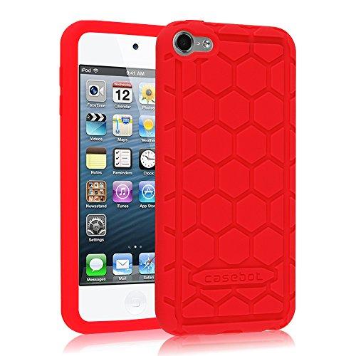 Preisvergleich Produktbild Fintie iPod Touch 6 Hülle - [Bienenstock Serie] Leichte Rutschfeste Stoßfeste Silikon Schutzhülle Tasche Case für Apple iPod Touch 6G 6. Generation 2015, Rot