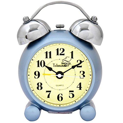 AIZIJI Creative Perezoso Clasicas con Un Silencio De Campana Doble Despertador 5 Pulgadas 8.5X5.5X12Cm,Azul Claro
