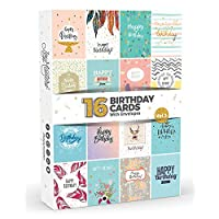 16 x Birthday Cards by Joy MastersTM Vol.3 | Boxed Multipack with White Envelopes | Great Value Set for Men & Woman