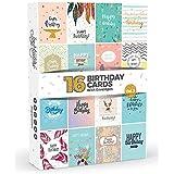 16x Tarjetas de cumpleaños por Joy masterstm Vol. 3| caja Multipack con sobres blancos | gran valor Set para hombres y mujer