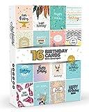Coffret de 16 Cartes d'Anniversaire avec Enveloppes Blanches par Joy MastersTM - Cartes de vœux au design coloré et moderne - Intérieur blanc - Pour homme et femme - Grand format 12,5 x 17 cm...